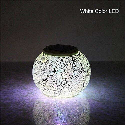 GRDE® Bunte Sphärische Mosaik Lampe, Nachtlicht, LED Lampe mit Farbwechsel, Wasserdichte Solar Leuchte, Kristallglas-Leuchte für Garten, Patio, Tabelle, Innen- Dekorationen (Silver)
