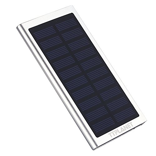 TTPLANET Solar-Ladegerät, ultraschmal, 20000 mAh, Dual USB tragbares Ladegerät für iPhone 6S/6 6 PLUS 5S, Samsung und andere