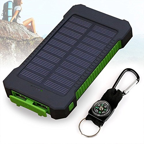 Solar Ladegerät, 10000mAh Dual USB Port Externe Akku, Wasserdichtes Staubdicht und Stoßfeste Tragbare Energienbank Handy-Ladegerät mit LED Licht für Camping Wandern und andere Outdoor Aktivitäten (Grün)