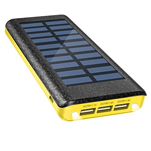 OLEBR Solar Ladegerät Powerbank 24000 mAh externes batterien Handy Solarladegeräte mit Highspeed-Eingang, 2 LED-Lampen und 3 Highspeed-Ladeanschlüsse für IOS-, Android- und andere Geräte mit microUSB-Port-Gelb