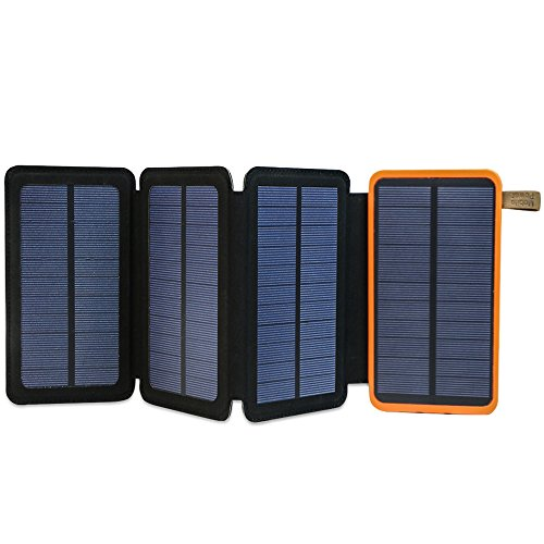 Solar Powerbank X-DRAGON 10000mAh Fatbare Solar Panel Ladegerät Dual USB Solar Batterie für iPhone, Samsung Galaxy ipad usw.(Orange)