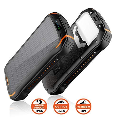 Powerbank solar 26800mAh, Solar Ladegerät schnelles Aufladen mit 2 Eingangsports/ 3 Ausgängen Tragbarer wasserdichter externer Backup-Akku für Smartphones, Outdoor-Aktivitäten