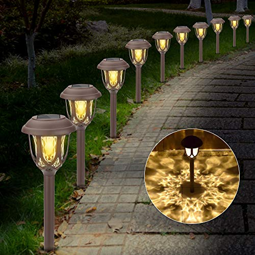 Molbory Solarleuchten Garten, 10 Stück Solar Gartenleuchte, Solarlampen für Außen Garten Solarleuchte Dekoration Licht für Außen Fahrstraßen Sicherheits Lichter Garten Patio Rasen