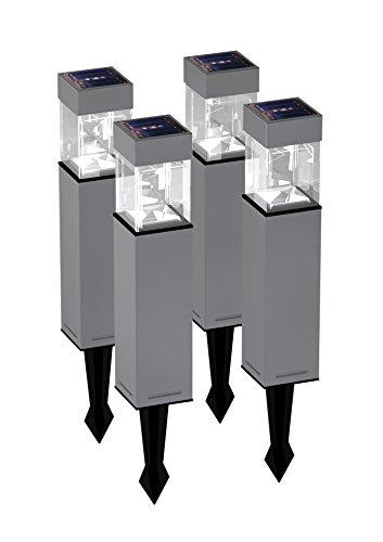 Duracell Solar-Gartenleuchte Edelstahl und Glas 4er Set, 5 x Lumen pro Leuchte , Maße: 39,65 x 5,8 x 5,8cm QS7Ma-R5-SS-W4