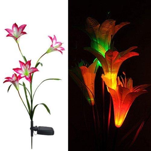FRE Solarleuchten 4 Kopf Lilien Blumen LED Licht Lampen Garten Rasen Decor - Rot