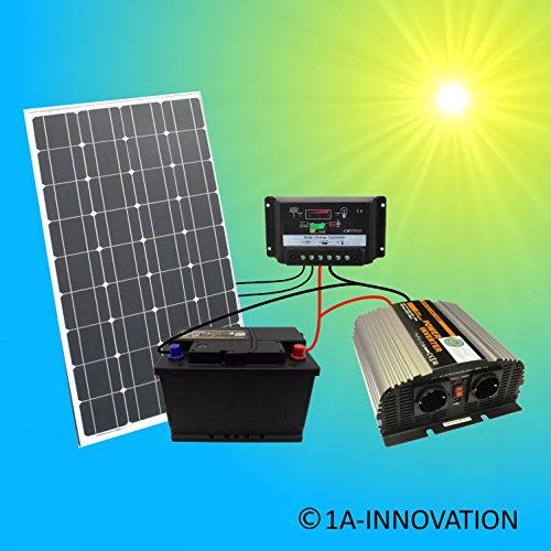 Komplette 220V Solaranlage TÜV Akku 100W Solarmodul 1000W Spannungswandler Gartenhaus NEU Solar Garten Set Camping Wohnmobil Inselsystem Solarzelle Solarzelle 230V Watt Volt 100